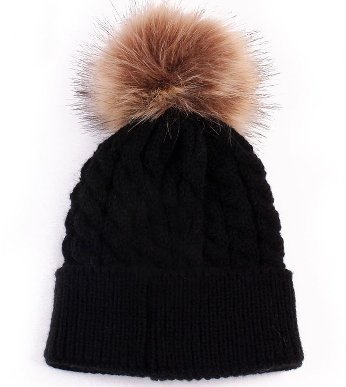 Kids Black Cable Brown Pom Faux Fur Pom Hat