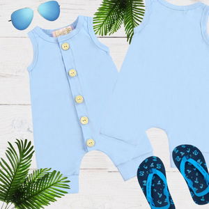 Blue Girls & Boys Solid Romper