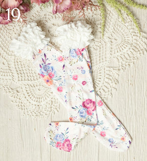White Floral with Pink & Purples Ruffled Knee Highs