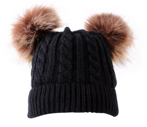 Kids Black Cable Double Brown Pom Faux Fur Pom Hat - 19