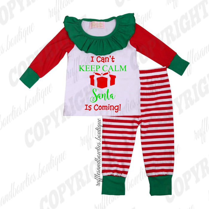 ***EXCLUSIVE*** Toddler and Kids Girls Red, White, and Green I Can't Stay Calm Santa Is Coming Holiday Christmas Payjamas