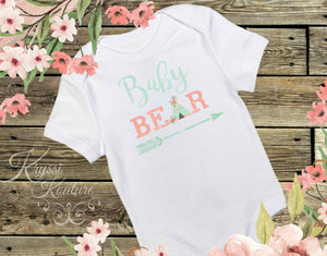 Baby Bear Baby Shirt -Bohemian Baby- Newborn Shirt - Coming Home Outfit - Teepee Shirt -  Boho Baby - Boho Onesie - Arrow Shirt -Shower Gift - Ruffles & Bowties Bowtique - 1