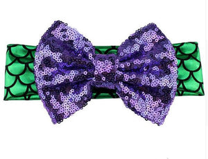Girls Mermaid Sequin Big Bow Headband