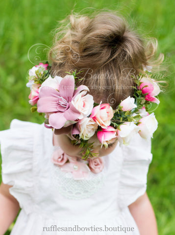 OC Dusty Rose Floral Head Wreath, Baby Halo, Flowergirl, Gloral Head Crown, Wedding, Christening, Baby Floral Crown, Baby, Ladies