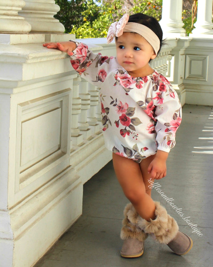 Adorable Alma Long Sleeve Baby Girl Vintage Floral Romper