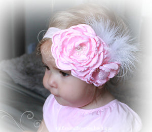 Pink Flower with Feather & Lace Headband - Ruffles & Bowties Bowtique - 1
