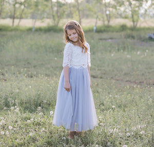 Blue - Sarah Lee 2 Pc  Long Sleeve Lace Top and Tulle Skirt Flower Girl Set