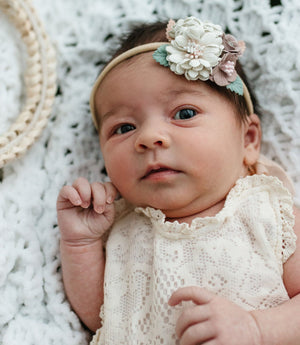 Girls Dusty Rose and Blush Floral Nylon Headband
