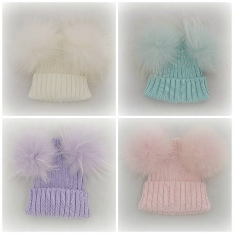 PRE ORDER - Double Pom Fur Knitted Beanie Hat - Baby Beanie Fur Pom Hat -  -Fall Hat - Winter Hat - Baby Hat - Real Fur Pom Hat