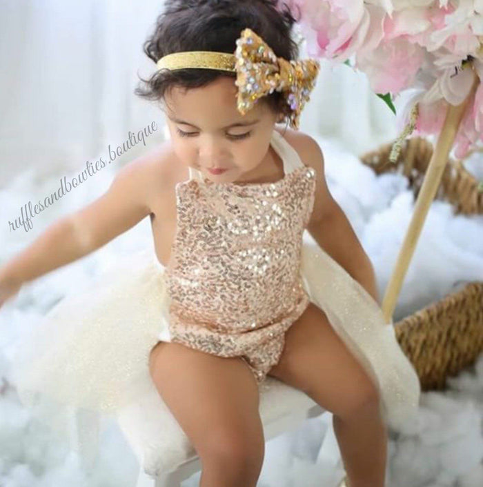 ***KRYSSI KOUTURE EXCLUSIVE**** Valentina Glitz Cream & Sparkle Gold Sequin Tutu Romper