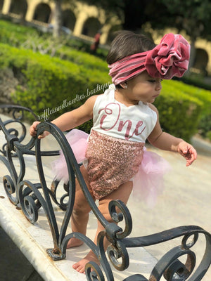 Darling Dazzle Rose Gold 1st Birthday Romper