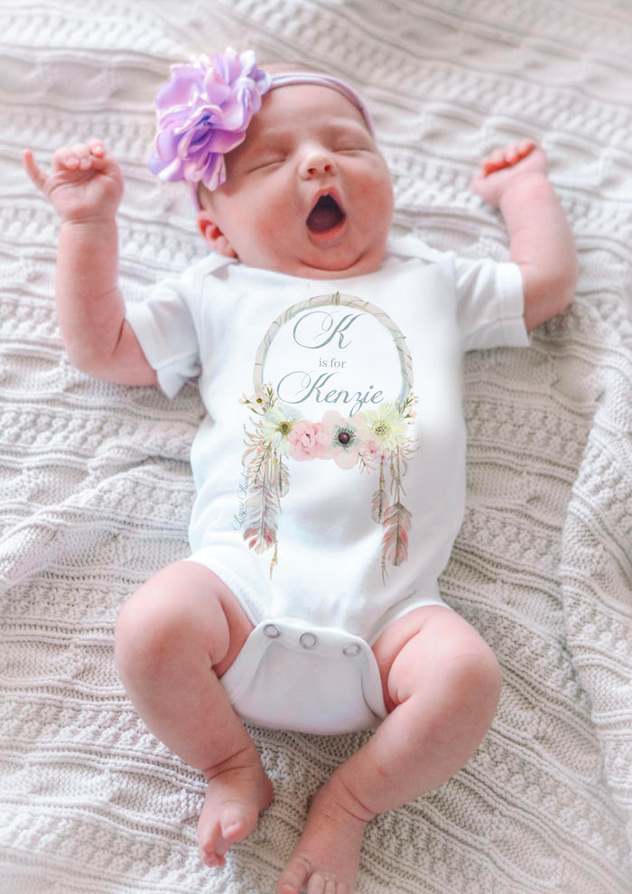 Name Customized Kryssi Kouture Dream Catcher Baby Onesie