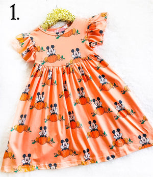 Orange Boy Mouse Theme Park Inspired Fall Dress