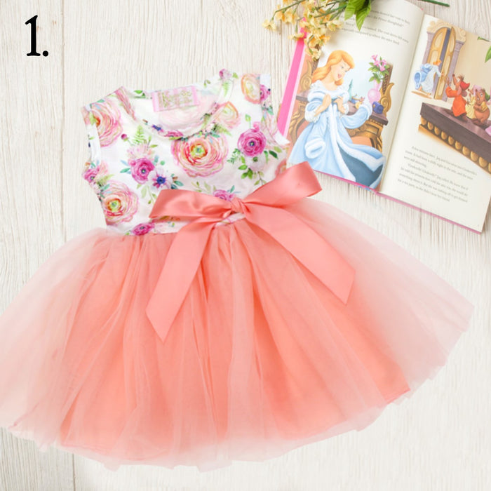 Peach Floral Ears Tulle Tutu Dress