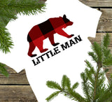 Baby Boy Little Man Buffalo Print Plaid Bear Christmas Onesie Creeper Body Suit - Babys First Christmas Shirt - Baby Boy Shower Gift - Comming Home Outfit - Winter Buffalo Plaid - Ruffles & Bowties Bowtique