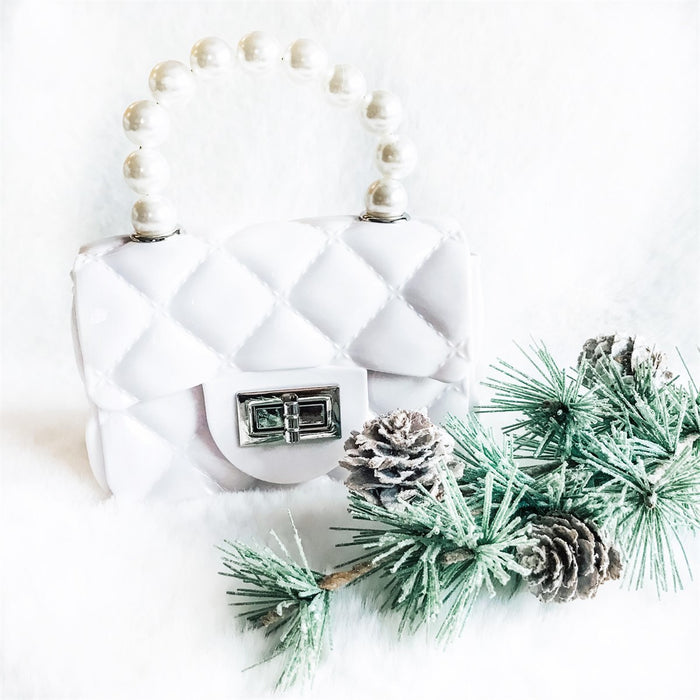 White Jelly Pearl Cross Body Purse