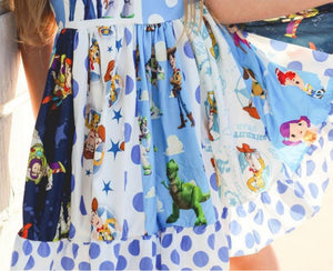 Toy Story Blue & White Spin Twirl Dress