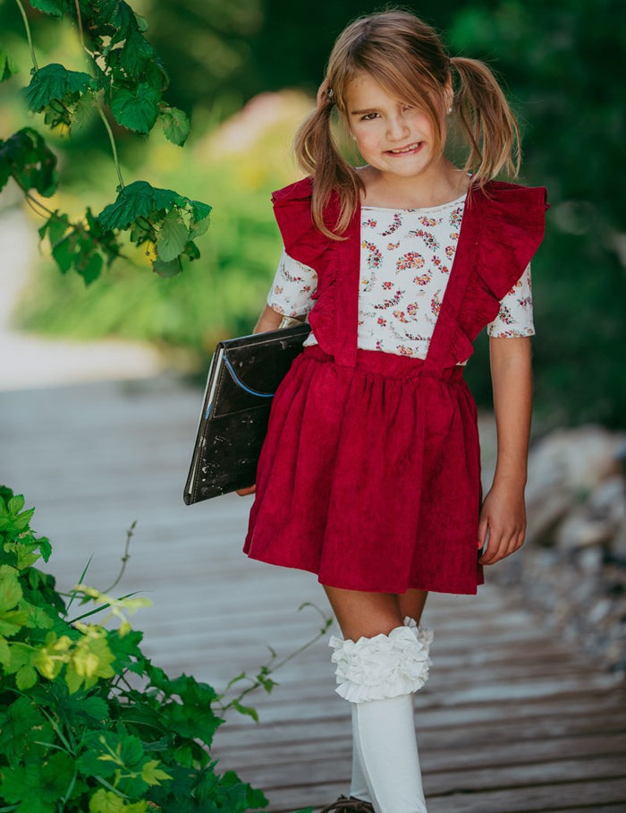 Burgundy Cord Suspender Jumper Dress