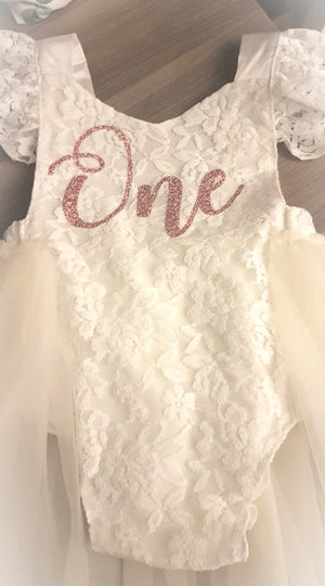Victoria Deluxe Vintage Lace Ivory 1st Birthday Tutu Romper