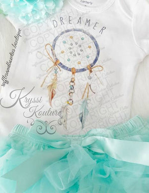 Baby Girl or Boys Blue & Aqua Dreamer Boho Baby Onesie - Newborn Onesie