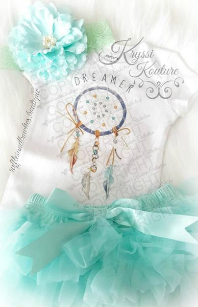 Kryssi Kouture Original DREAMER © ****CUSTOMER FAVORITE**** Baby Girl or Boys Blue & Aqua Dreamer Boho Baby Onesie - Newborn Onesie