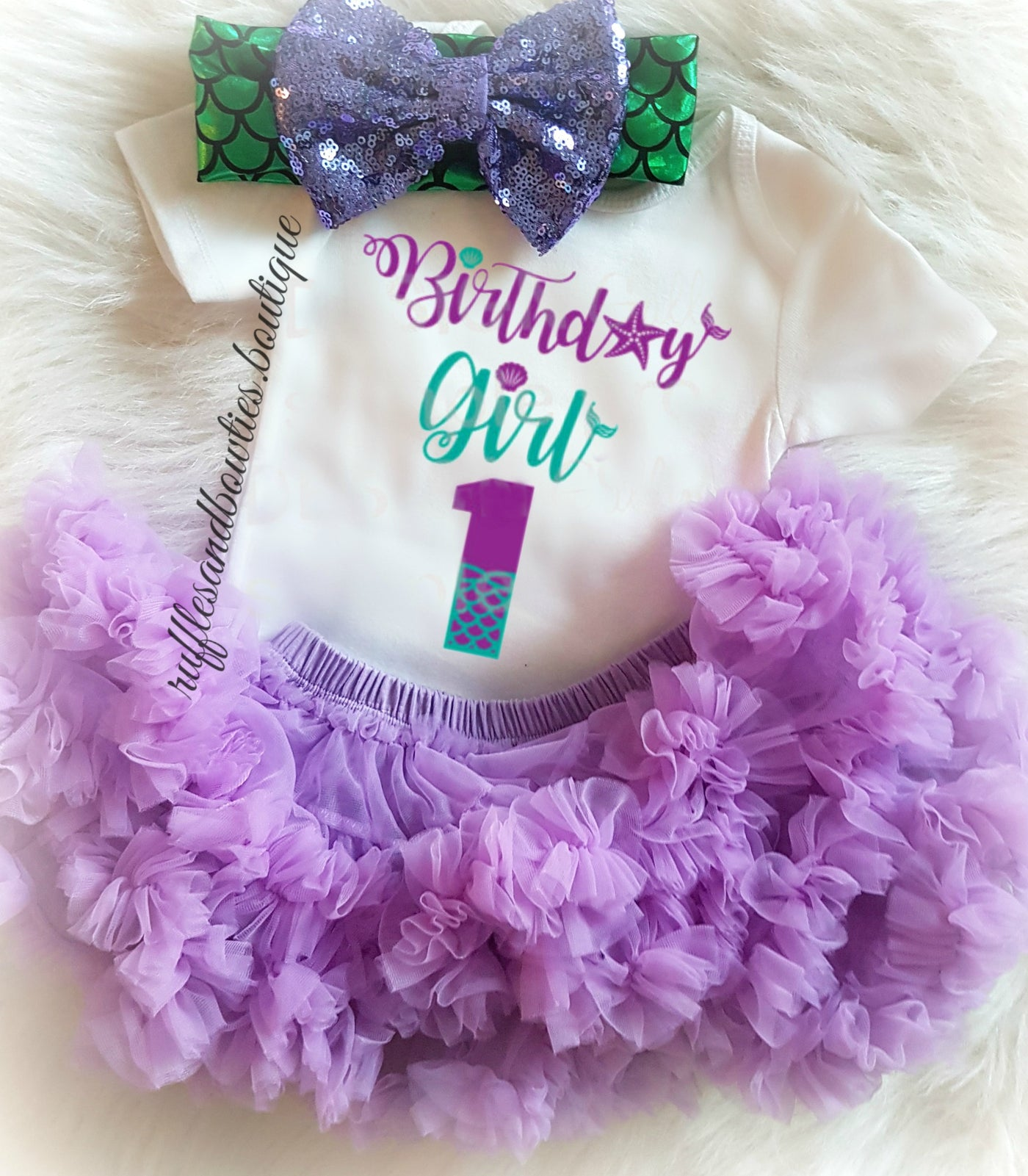 Sample Sale Personalized Mermaid Shirt outfit w bow baby girl first birthday embroidered ruffled beach shirt hair bow custom embroidery