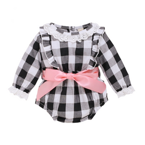Black & White Check Romper with Pink Ribbon