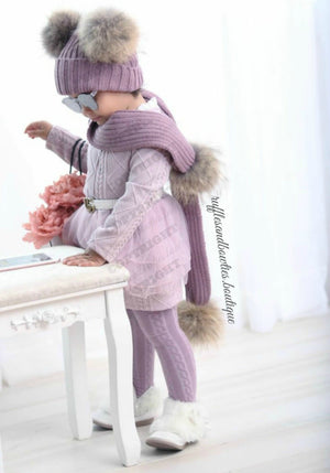 Girls Knitted Dusty Rose Long Sleeve Tulle Princess Sweater Dress