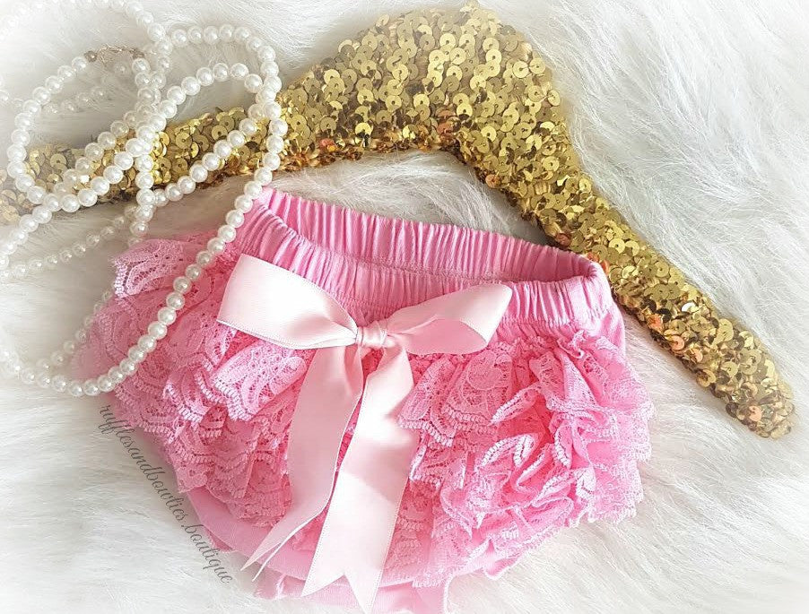Pink Lace Diaper Covers with Bow