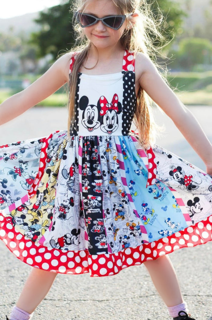 Mickey & Minnie Black & Red Twirl Spin Dress