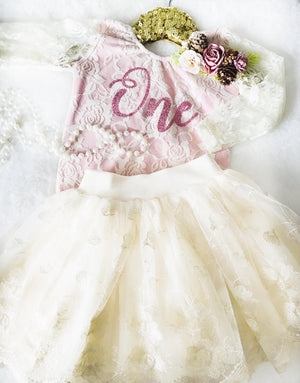 Kryssi Kouture First Birthday Ivory Lace Leo & Ivory Lace Tutu Set