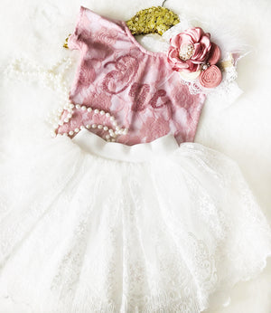 Kryssi Kouture First Birthday Dusty Rose Lace Leo & White Lace Tutu Set