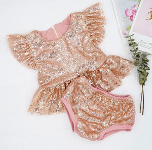 BEST SELLER - Marilyn Rose Gold Sequin 2 Pc Birthday Set