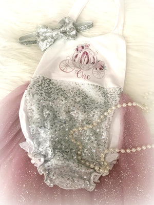 Kryssi Kouture Exclusive Ella Enchanted Girls First Birthday Mauve and Silver Sparkle Tutu Romper