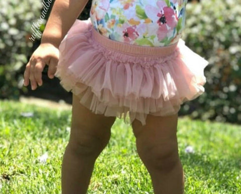 Kryssi Kouture Dusty Rose Sparkle Glitter Tutu Ruffle Diaper Cover Bummie