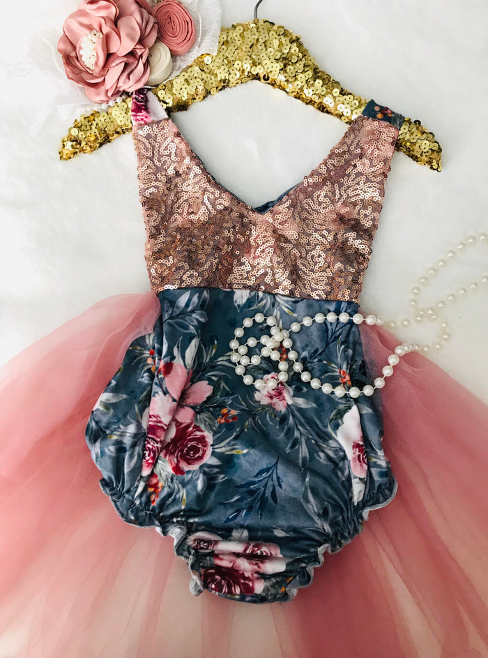 Kryssi Kouture Country Blue Floral Tutu Romper