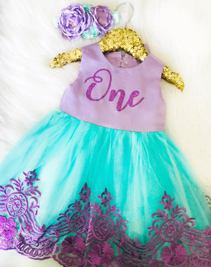 Purple And Aqua First Birthday Party Dress