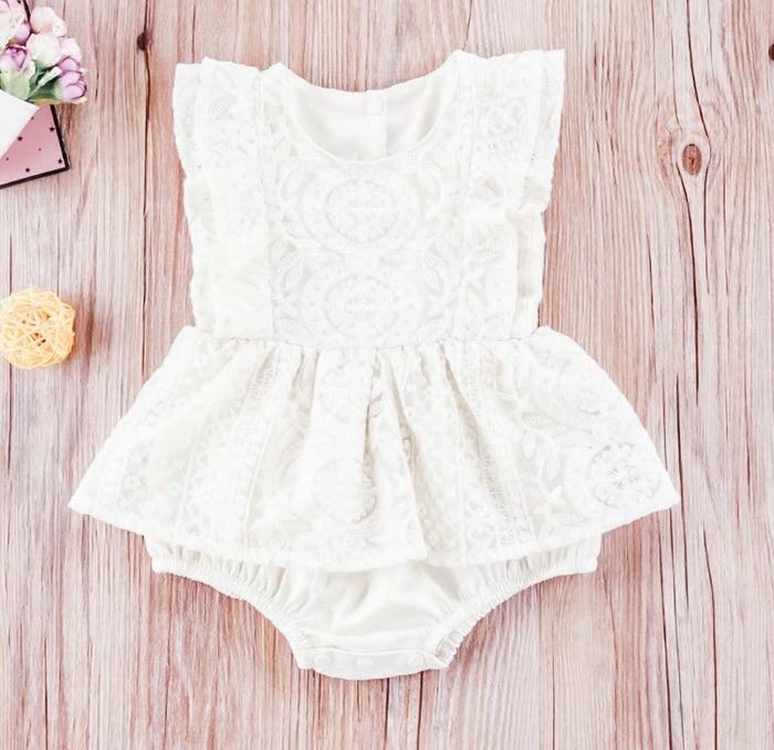 Stacey Vintage Sleeveless Lace Romper