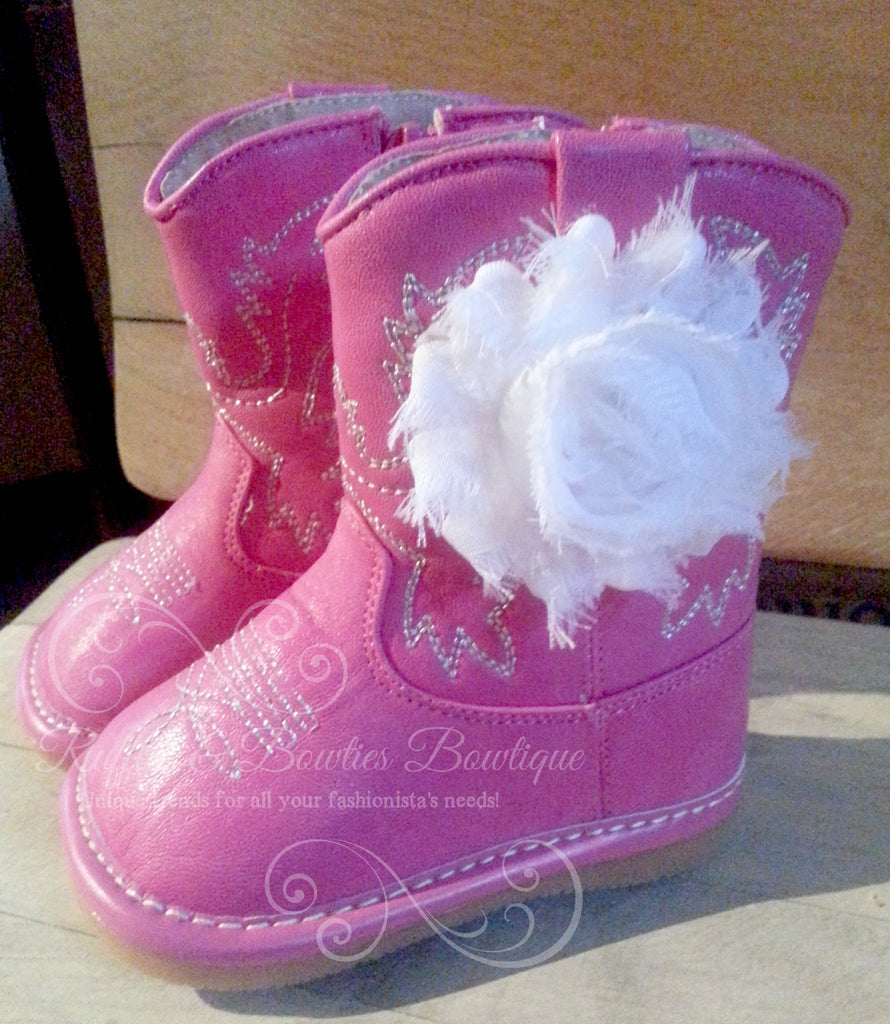 NO FLOWER - Hot Pink Leather Squeaky Cowgirl Cowboy Boots With White Flower - IN STOCK - Ruffles & Bowties Bowtique