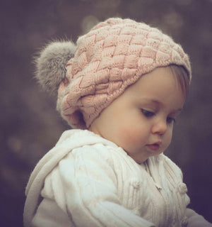 Pre-Order - Dusty Rose Knitted Pom Hat - Ruffles & Bowties Bowtique - 1