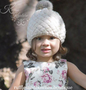 Pre-Order - Cream Rose Knitted Pom Hat - Ruffles & Bowties Bowtique - 2