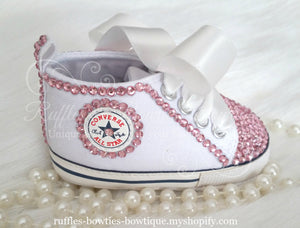 White Crystal Baby Converse High Tops - Crystal Shoes - Pre Walker Shoes - Baby Girl Shoes - Wedding - Christening - Baptism - Baby - Pink Crystals - Ruffles & Bowties Bowtique - 1