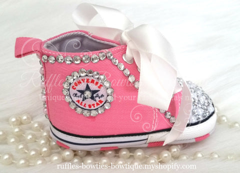 Crystal & Pearl Baby Converse High Tops - Crystal Shoes - Pre Walker Shoes - Baby Girl Shoes - Wedding - Christening - Baptism - Baby - Hot Pink