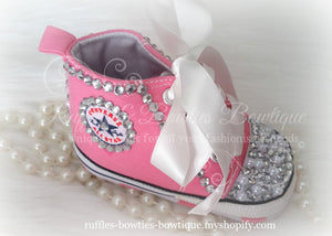 Crystal & Pearl Baby Converse High Tops - Crystal Shoes - Pre Walker Shoes - Baby Girl Shoes - Wedding - Christening - Baptism - Baby - Hot Pink,  - Ruffles & Bowties Bowtique