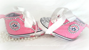 Crystal & Pearl Baby Converse High Tops - Crystal Shoes - Pre Walker Shoes - Baby Girl Shoes - Wedding - Christening - Baptism - Baby - Hot Pink - Ruffles & Bowties Bowtique - 3