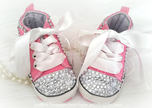 Crystal & Pearl Baby Converse High Tops - Crystal Shoes - Pre Walker Shoes - Baby Girl Shoes - Wedding - Christening - Baptism - Baby - Hot Pink - Ruffles & Bowties Bowtique - 4