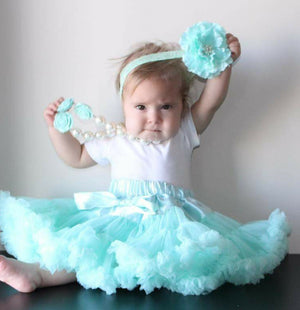 Girls First Birthday Aqua Petti Skirt With Built In Diaper Cover - Ruffles & Bowties Bowtique - 1