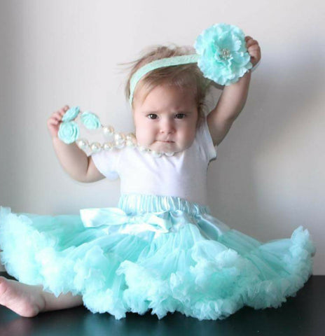 Aqua Tutu/Petti Skirt With Built In Diaper Cover