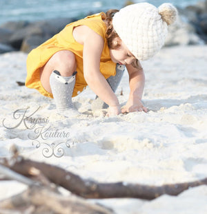 Pre-Order - Cream Rose Knitted Pom Hat - Ruffles & Bowties Bowtique - 4