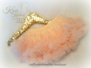 Soft Peach Petti Tutu Skirt Bloomers - Ruffles & Bowties Bowtique - 1